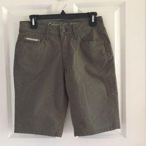Calvin Klein Jeans womens bermuda shorts green NWT